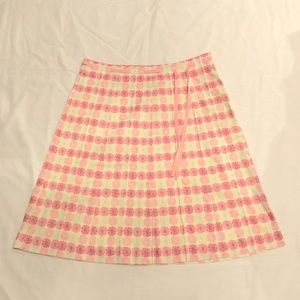 J. Crew Pink Floral Cotton 6 Skirt Skater Ribbon